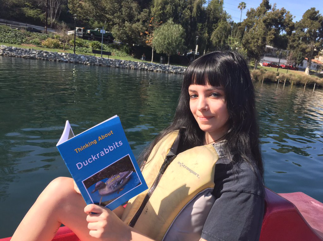 Tarynn Law reads Thinking About Duckrabbits at The Floating Library, Echo Park Lake, photo Clarence Clarity 2016