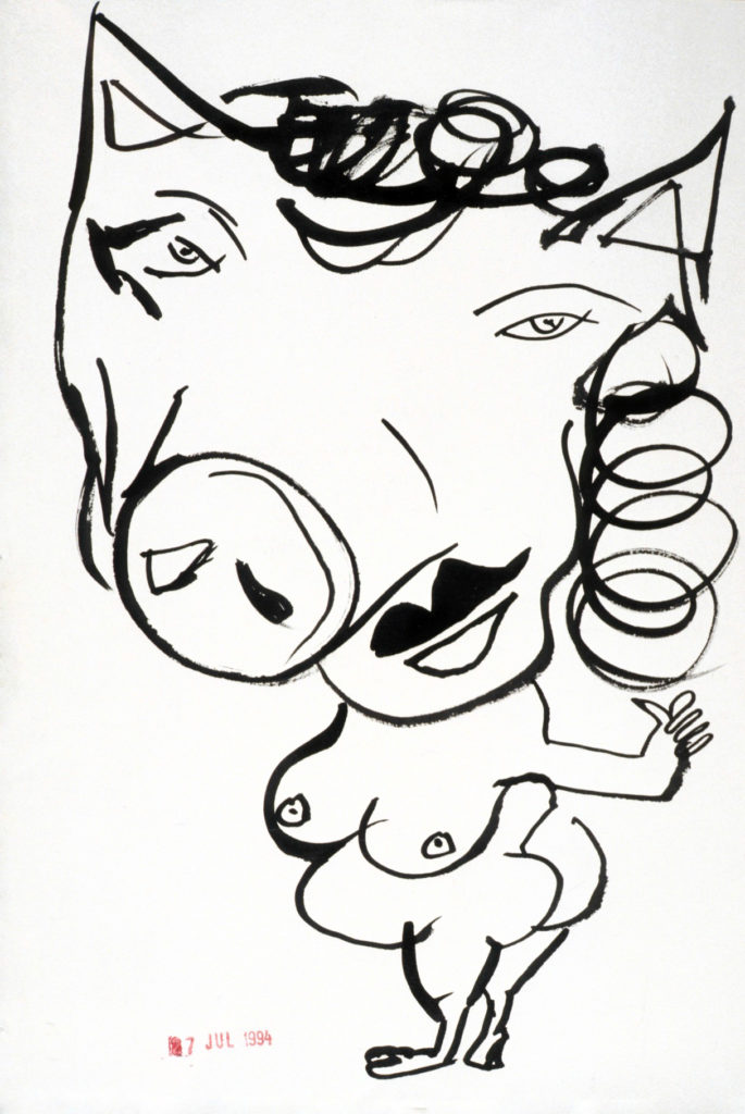 She's a Pig (ink drawing A3 1994)